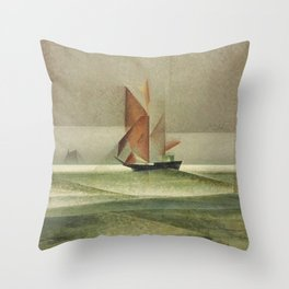 Ostsee-Schoner Nautical - Maritime landscape painting by Lyonel Feininger Throw Pillow
