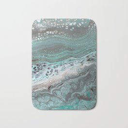 Teal Flow Abstract Acrylic Painting Bath Mat