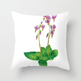 Shooting Star Wildflower Throw Pillow