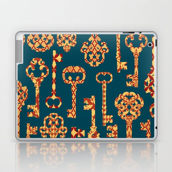 Yellow and Red Skeleton Key Pattern Laptop & iPad Skin