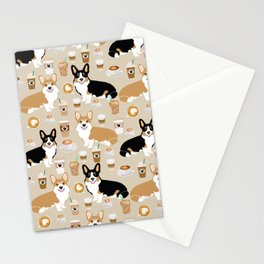 Corgi coffee welsh corgis dog breed pet lovers tan corgi crew Stationery Cards