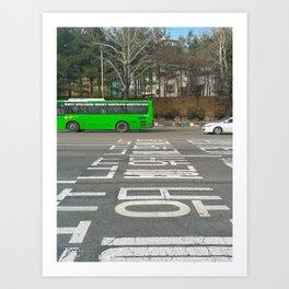 Green Korean Bus Art Print