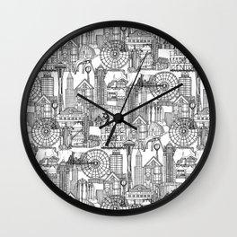 Seattle black white Wall Clock