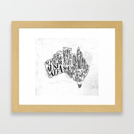 Map Australia vintage Framed Art Print