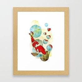 Koi Fish In Love Framed Art Print