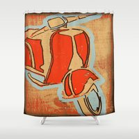 vespa Shower Curtains featuring Vespa by Wood Grian & Grits