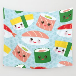 pattern Kawaii funny sushi rolls set with pink cheeks and big eyes, emoji Wall Tapestry