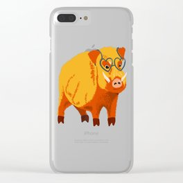 Benevolent Funny Boar Pig Clear iPhone Case