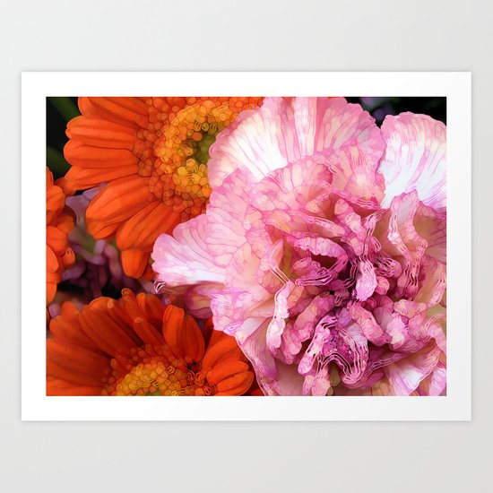 Peonies and Gerbers Art Print