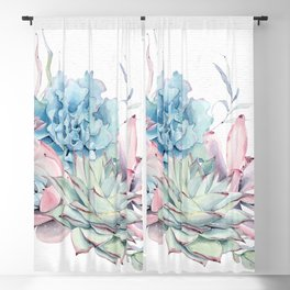 Succulents Pink Blue Green by Nature Magick Blackout Curtain