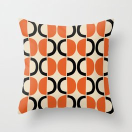 Mid Century Modern Half Circle Pattern 524 Beige Orange and Black Throw Pillow