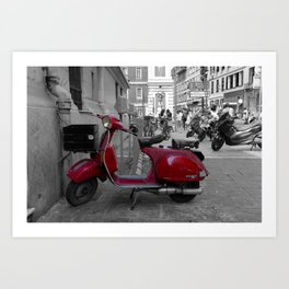 Red Vintage Vespa  PX 125 E in Nice French Riviera Art Print