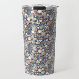 Colorful flowers on a denim background. Travel Mug