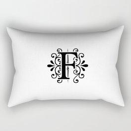 Monogram Letter F in Black and White Rectangular Pillow