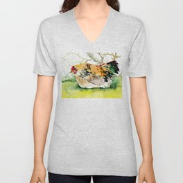 Chicken, Farm animal art chicken in the farm Unisex V-Neck