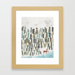 the winter forest Framed Art Print