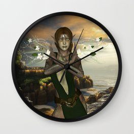 Fairy with flowers Wall Clock