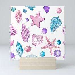 Colorful seashells pattern Mini Art Print