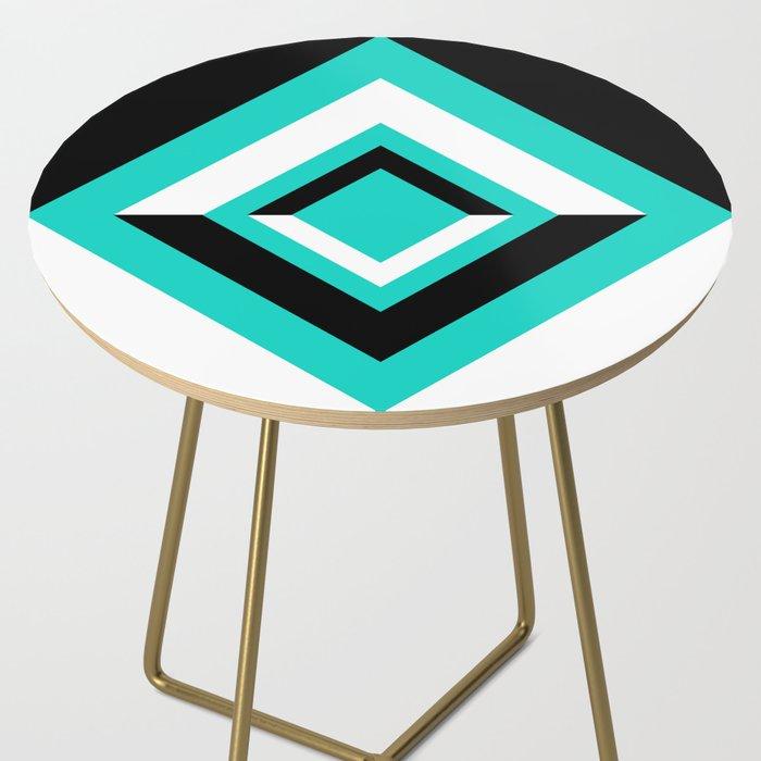 Teal Black and White Diamond Shapes Digital Illustration - Artwork Side Table