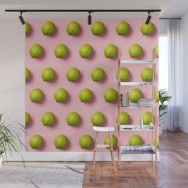 Limes pattern on pink background Wall Mural