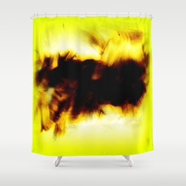 Hole In My Heart Black White Yellow Abstract Shower Curtain