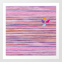 multicolored stripes pattern with leaves Art Print