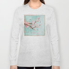 Its All Over Again - Romantic Spring Cherry Blossom Butterfly Illustration on Teal Watercolor Long Sleeve T-shirt