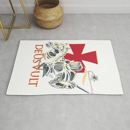 Knights Templar Cross Deus Vult Medieval Holy Warrior Crusader Rug