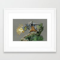 guardians of the galaxy Framed Art Prints featuring Guardians by theMAINsketch