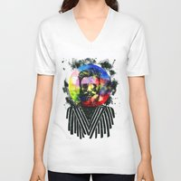 globe V-neck T-shirts featuring Hipster Globe by Psyca