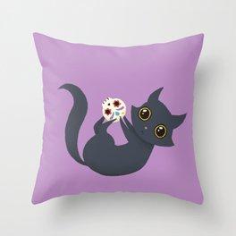 Kitty sugar skull Throw Pillow