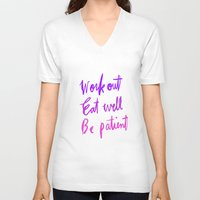 workout V-neck T-shirts featuring Neon workout quote by nneko