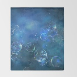floating bubbles blue watercolor space background Throw Blanket