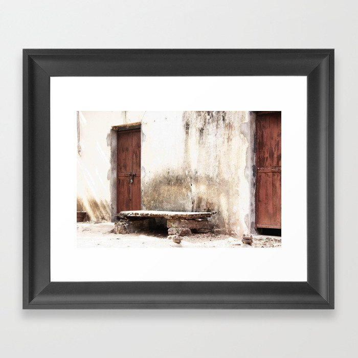 Seat In Front Of The Old Door Framed Art Print By