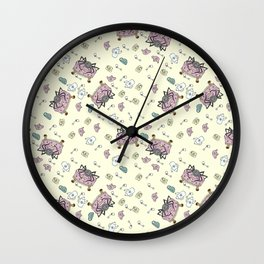 Teatime Spider - Yellow Wall Clock