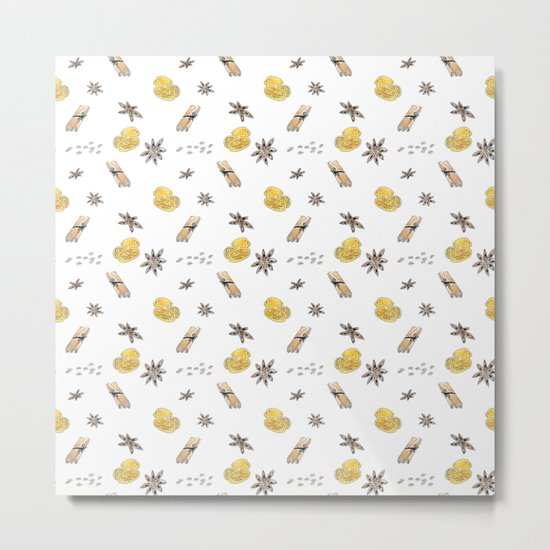 Seamless pattern with lemon slices and spices Metal Print