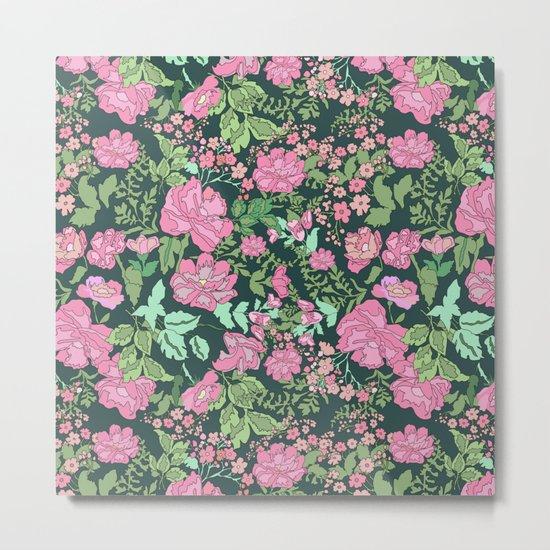 Pink repeating flower pattern Metal Print