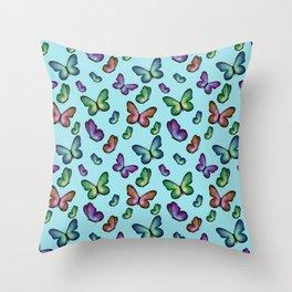 Butterflies on blue Throw Pillow