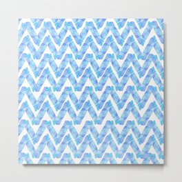 Abstract blue teal watercolor zigzag chevron pattern Metal Print