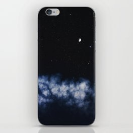 Contrail moon on a night sky iPhone Skin