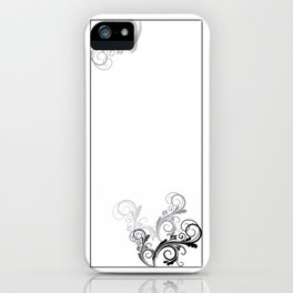 Black and White floral Design iPhone Case