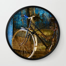 Blue Bicycle Wall Clock
