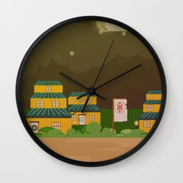Four houses in the night Wall Clock