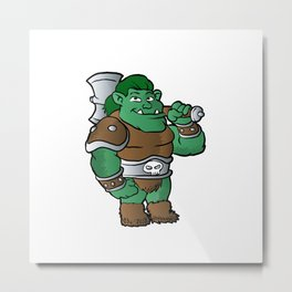 muscular orc in armor. Metal Print
