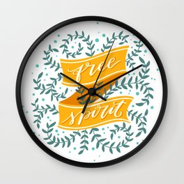 Free Spirit. Hand-lettered calligraphic quote print Wall Clock