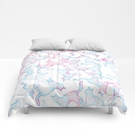 Hand painted teal pink watercolor cats Comforters