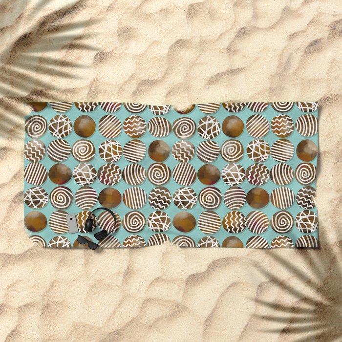 Chocolate in the box Beach Towel