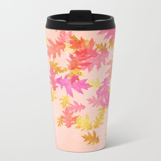 Autumn-world 1 - gold glitter leaves on pink background Metal Travel Mug