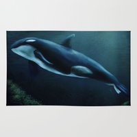 orca Area & Throw Rugs featuring Orca by Wesley S Abney