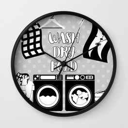 Laundry Sign - Gray, Black, White Wall Clock
